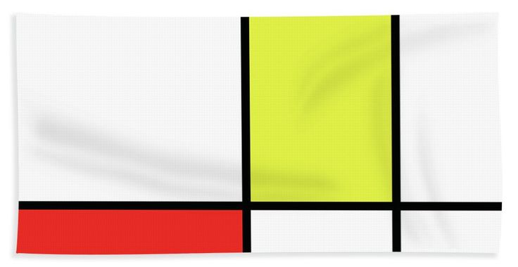 Mondrian Beach Towel featuring the mixed media Mondrian Style Minimalist Pattern In Red And Yellow by Studio Grafiikka