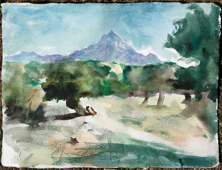 Landscape, watercolor on paper