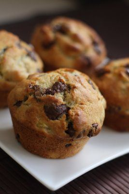 Eggless Banana Choco-Chip Muffins Recipe: I replaced the sugar with 1/2 cup honey and the oil with 1/3 cup of applesauce! Really good!