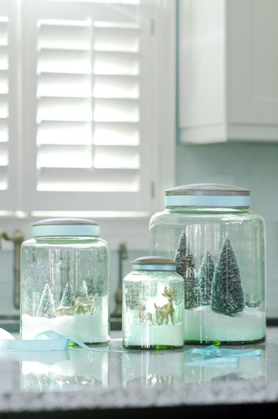 DIY Green Glass Snow Globes