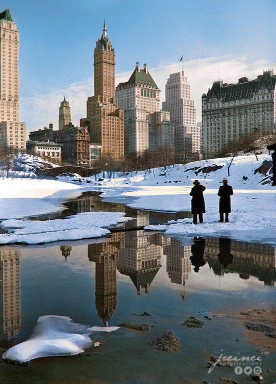 New York City views - Plaza buildings from Central Park - February 12, 1933 : ColorizedHistory