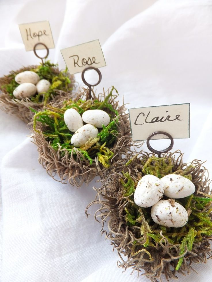 10 Spring Decor Ideas. Cute Easter Decorating Ideas. A mix of Spring DIY projects and cute Easter products. Spring Nest Place Card Holders. http://blog.aftcra.com/blog/10-easter-decorating-ideas/