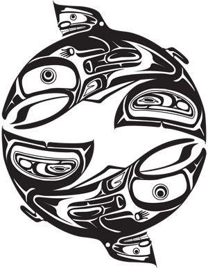 Salmon Circle sticker, Haida design