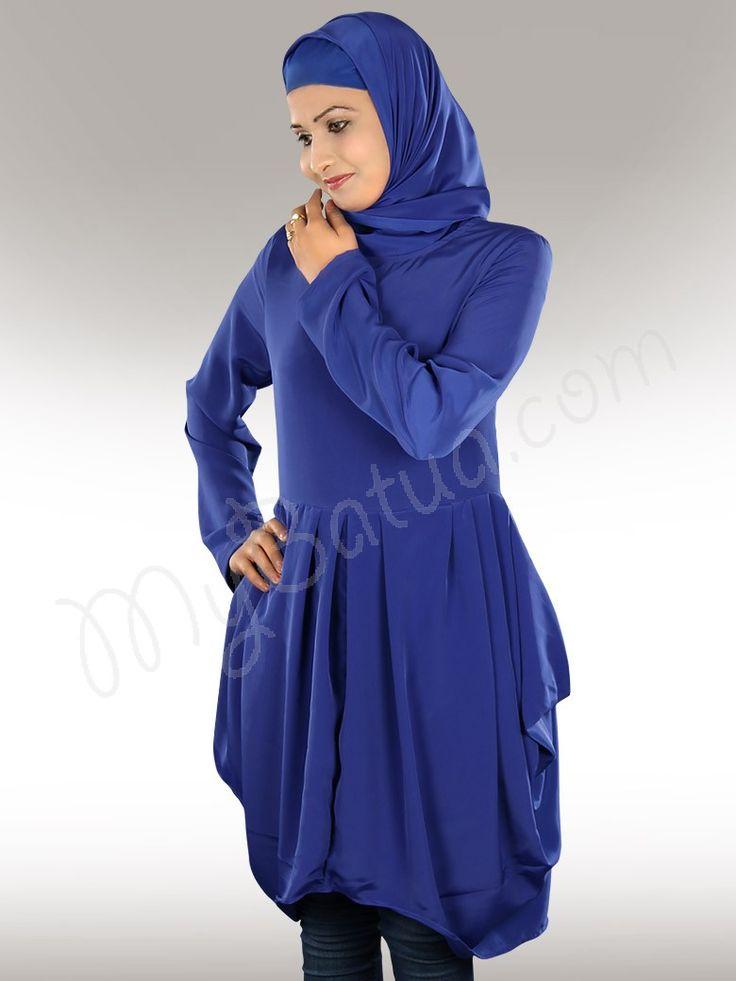 Casual Crepe Royal Blue Tunic in Regular & Plus sizes - www.mybatua.com - http://www.mybatua.com/womens/islamic-kurtis-tunics/casual-crepe-royal-blue-islamic-tunic