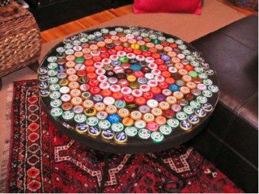So going to do this with our collection of Bottle caps and an old shelf!