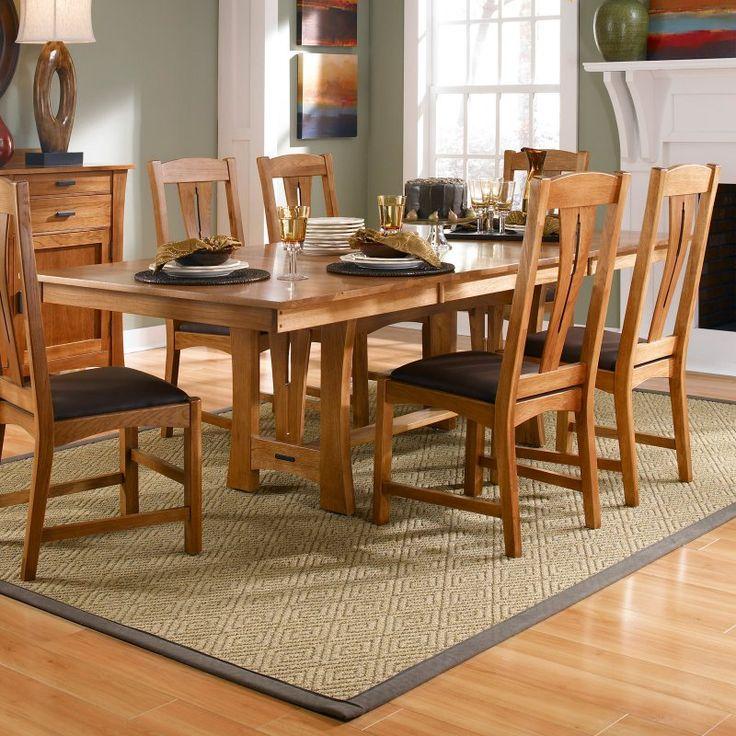 A America Cattail Bungalow Trestle Dining Table   AAME200