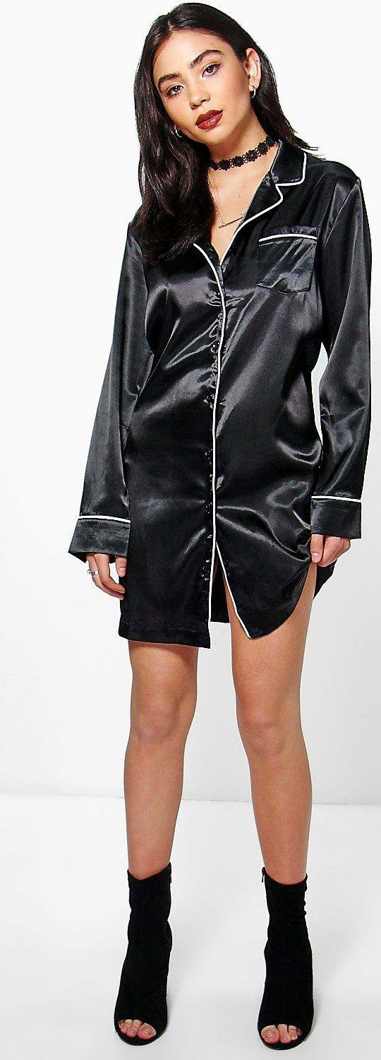 Pandy Satin Pyjama Shirt Dress - Dresses  - Street Style, Fashion Looks And Outfit Ideas For Spring And Summer 2017