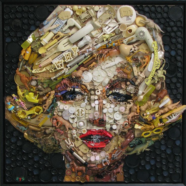 """Kirkland Smith is a local Columbia artist who uses """"found"""" objects to create works of art. I came across her work in The State newspaper today. She uses toys, electronics, bottle caps, …"""
