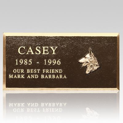 The Cast Bronze Pet Headstone (large) is quality cast bronze markers with a Renaissance finish. These monuments to your pet are available in two sizes; both include the name of the pet, numeric years of birth and death, a breed-specific applique and a short line of sentiment. Inscriptions are all upper case Roman style as shown. The piece can be placed directly on the ground or anchored to a footing of pre-cast concrete, poured concrete or cut stone. Solid brass mounting hardware is…