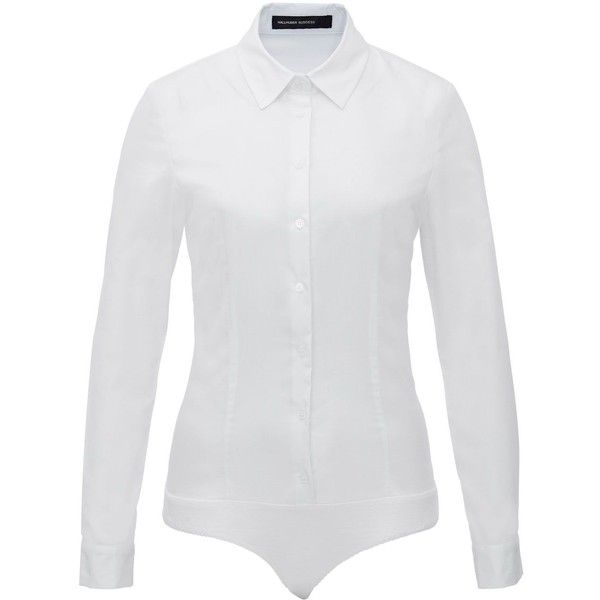 Hallhuber Clarissa Bodysuit Blouse ($55) ❤ liked on Polyvore featuring tops, blouses, white, women, collared blouse, cotton jersey, collared shirt, jersey shirts and white bodysuit