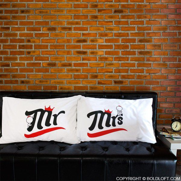 """BoldLoft A Perfect Match -Mr & Mrs - Couple Pillowcases–Bless the newlywed with these adorable """"Mr & Mrs"""" couple pillowcases. Help make their special day even more memorable with this wedding gift."""