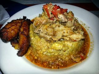 Eat Drink And Be Me: Mofongos - Mofongo de Pollo Guisado (a mofongo stuffed with savory chicken stew and bell peppers)