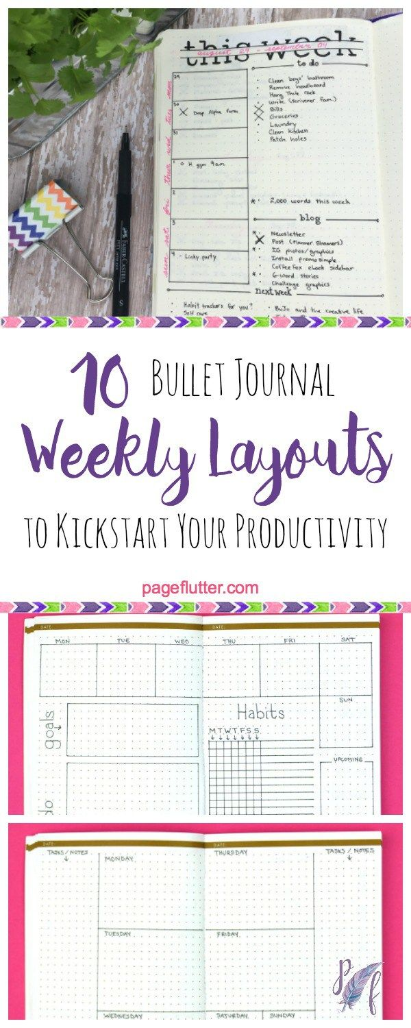 150 best page flutter hot off the press images on pinterest 10 weekly bullet journal layouts to kickstart your productivity fandeluxe Gallery