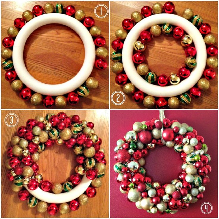 did it ornament wreath red n gold christmas trees pinterest christmas wreaths ornament wreath and christm - How To Make A Christmas Wreath