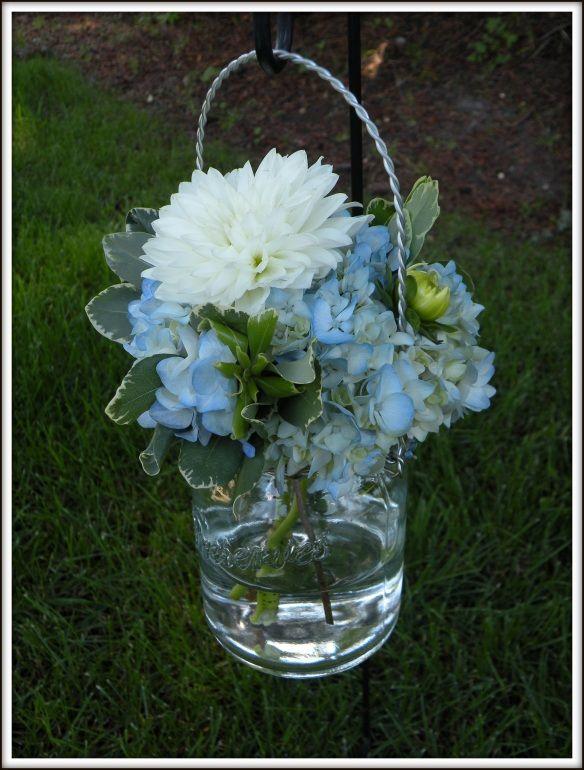 Hanging Mason Jars With Hydrangea!! My Big Sky Blue Wedding Flower Decor!! Like Walking Through Clouds 