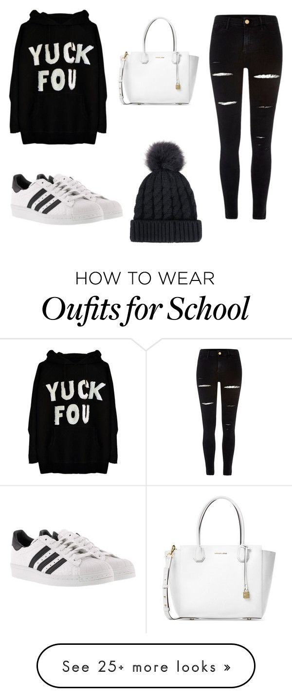 """""""school outfit """" by ashlehhfhbffg on Polyvore featuring River Island, adidas and Michael Kors"""