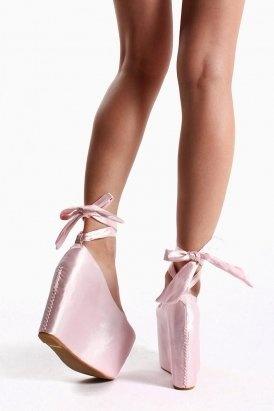 wildfox x jeffrey campbell - ballet platform shoes (satin pink ...