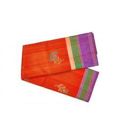 Orange Designer Banaras Silk saree