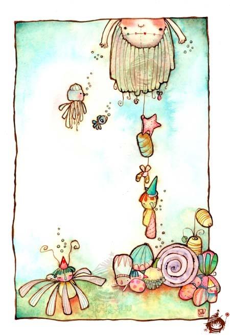 "• Majeak Ann Illustration  ""Sea Treasures""  [watercolor]"