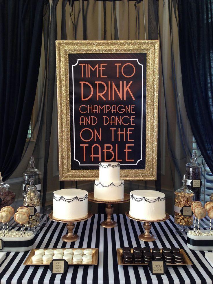 BLACK GOLD GATSBY ART DECO black,white,gold art deco, gatsby dessert display/buffet