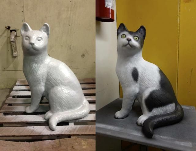 The single cat sculpture, before and after painting, image courtesy of Claude Cormier + Associés