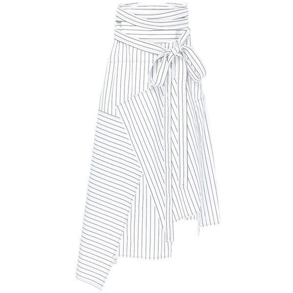 JW Anderson Stripe patchwork wrap poplin maxi skirt (590 CHF) ❤ liked on Polyvore featuring skirts, stripe maxi skirt, white maxi skirt, long striped maxi skirts, white asymmetrical skirt and long wrap skirt