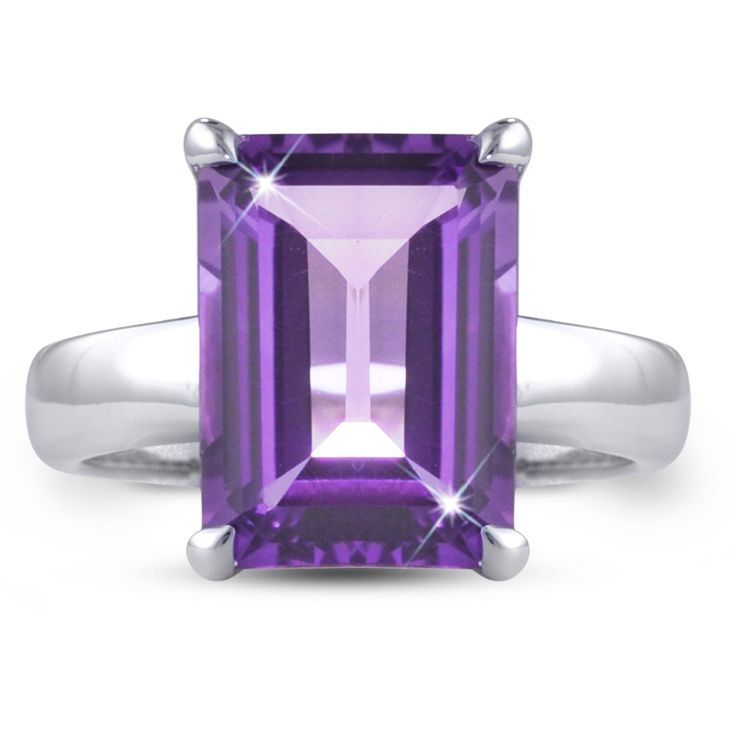"""CAMILLE A Prod Code: TR8009 Moi Moi Fine Jewellery -  """"Camille A"""" Ring 4-prong setting 14mm x 10mm Rectangle Amethyst, 7.05ct"""