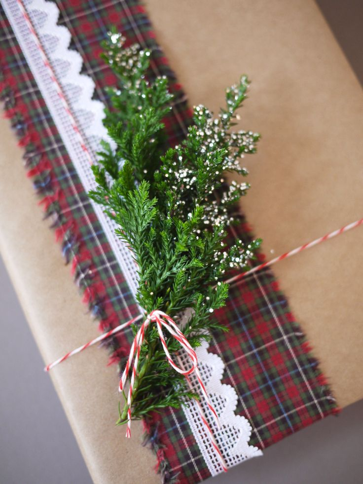 tartan, lace, string & heather gift wrapping