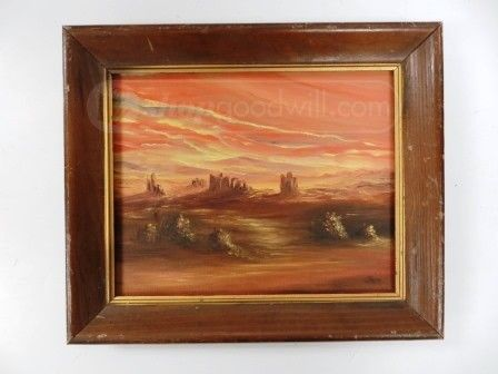 shopgoodwill.com - #39870971 - Southwestern Sunset SIGNED Oil Painting - 5/29/2017 6:48:00 PM
