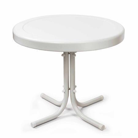 Patio Furniture Garden Table Outdoor Round Metal White - Tables