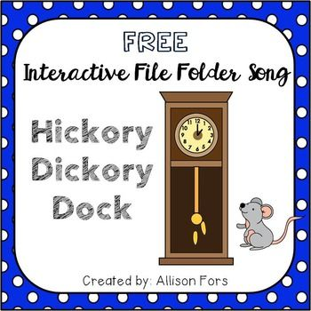 Hickory Dickory Dock Interactive Song:This interactive file folder song is great for early language acquisition. Target:- Receptive identification of animals - Imitating actions/words- Filling in words- Choice making- Requesting more or doneDirections to assemble:1.                                                                                                                                                                                 More