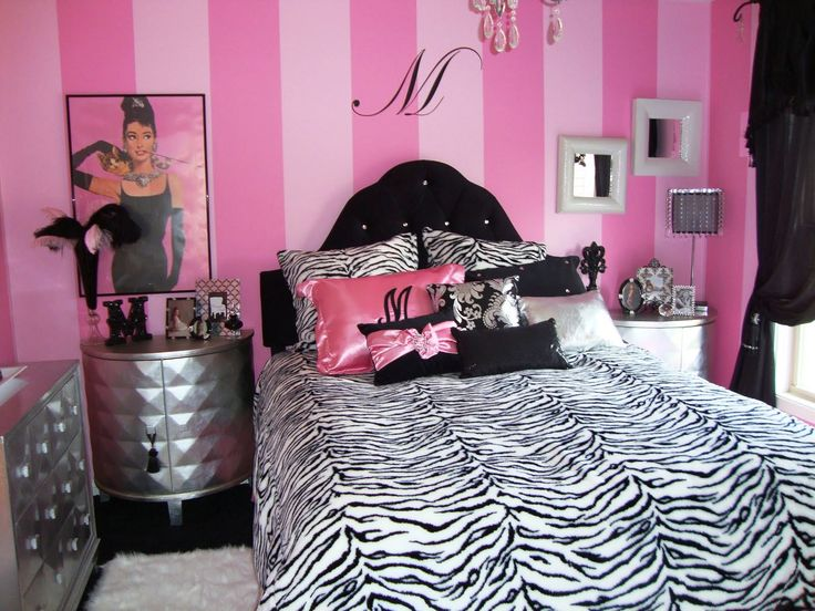 teen room girl bedroom design ideas with pink striped wall design with black and white zebra duvet cover and pillow with white fur rug with black curtain - Zebra Bedroom Decorating Ideas