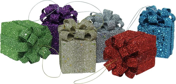 Glittery, bright, and perfectly packaged gift box ornaments.