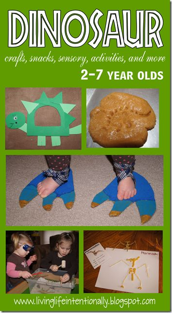 Dinosaur crafts, snack, sensory, activities, and more for tot preschool and k. Or grown-ups who really like dinosaurs, take your pick. Collin would love it. @Tina Doshi Doshi Doshi Roberts