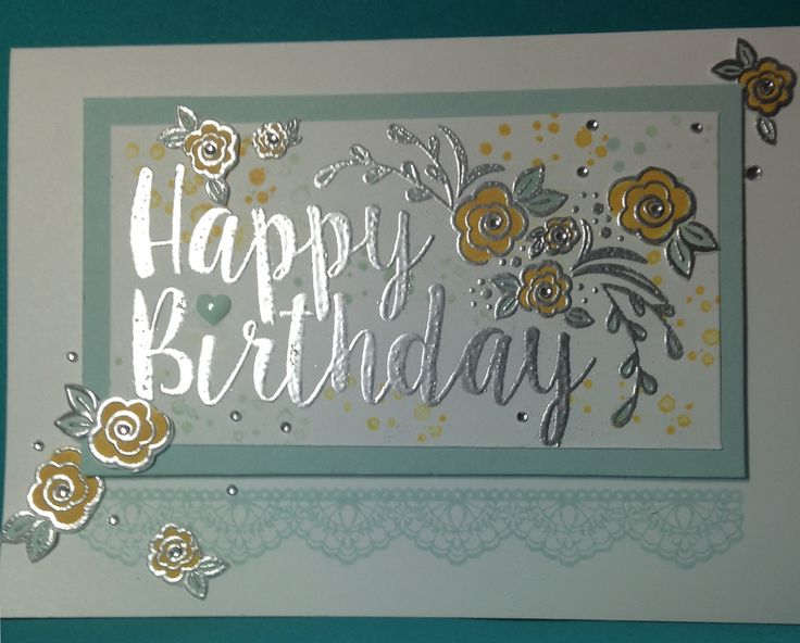 Big on Birthdays, #New Stampin'Up Spring/Summer 2017 Catalogue, silver Embossed #Handmade Card made by Helga Brown from #Cardblanche.blogspot.com, Stampin'Up only
