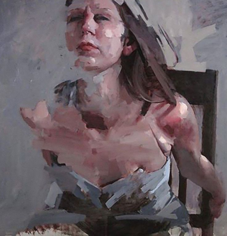 Mark Tennant {contemporary figurative #expressionist female décolletage woman torso smudged texture painting} marktennantart.com