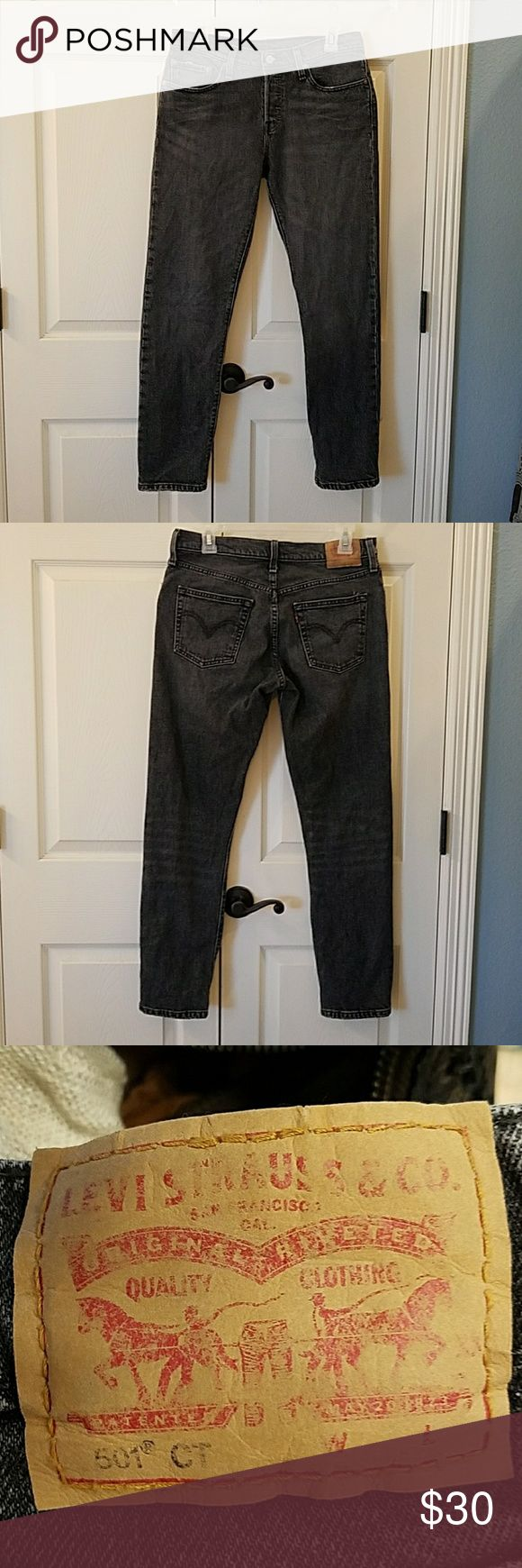 "Levi's 501 CT EUC After the original 501's I have listed were too big, I ordered these in a 26.  But they run even larger than the regular 501's. I have a pair of 25 now and they fit.  But these fit more like a 27. The color is Black Coast. 29"" inseam. They are made of stretch denim.  I bought these new on sale.  I have only worn once because they are too big for me.  No flaws. Levi's Jeans Boyfriend"