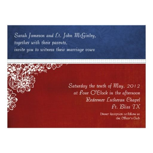 Beautiful Patriotic Military Floral Wedding Oversized Card