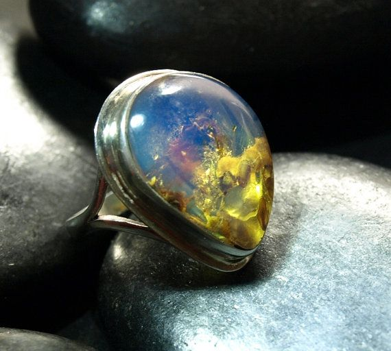 Dominican Blue n Green Clear Amber Big Tear Drop Ring Sterling
