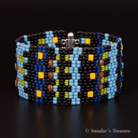 Colorful Beaded Cuff Bracelet in Black by SmadarsTreasure on Etsy, #beadwork