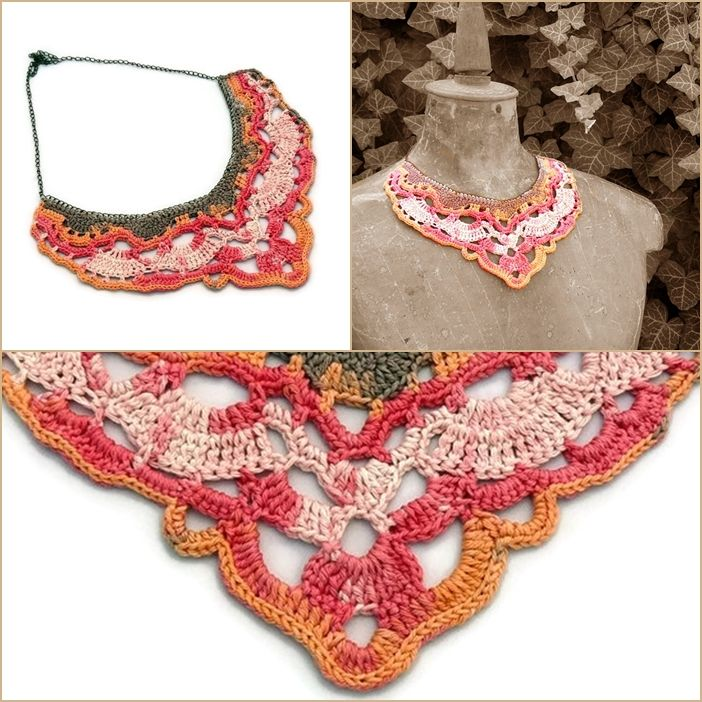 horgolt nyakék beige, barna, rózsaszín és narancssárga színekben / crochet bib necklace in beige, brown, pink and orange colors #crochet #necklace #horgolt #nyaklánc