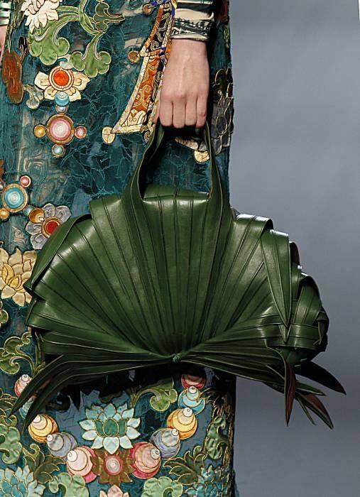 Palm leaf evening bag