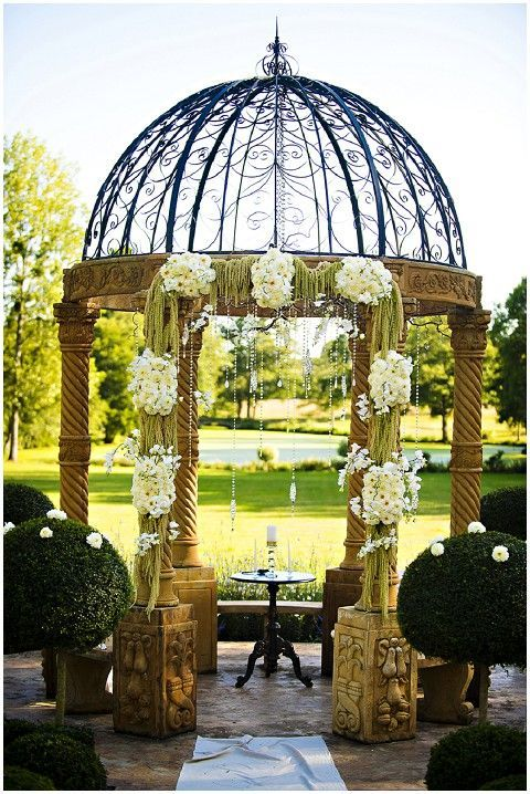 fairytale wedding gazebo © Javon Longieliere Photography at Chateau Challain in France, the idea dreamy centrepiece for your outdoor wedding ceremony