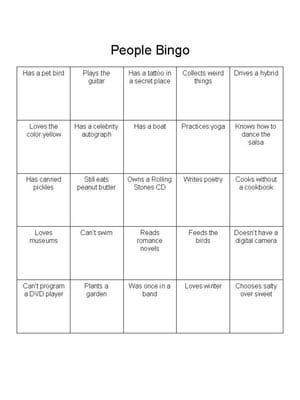 "Instructions for Playing the ""People Bingo"" Icebreaker: People Bingo Card"