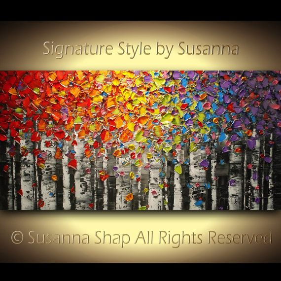 Why must I have expensive taste with a very small budget??? ORIGINAL Large Abstract Birch Trees Painting Impasto Landscape Oil Painting Heavy Textured Modern Palette Knife Painting by Susanna 48x24. $475.00, via Etsy.