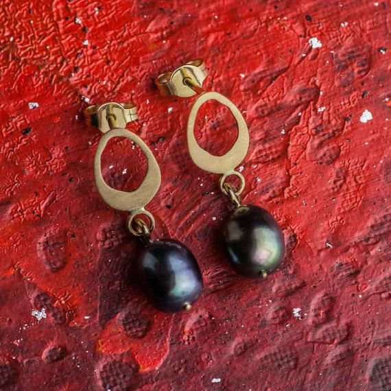 Tahitian Pearls Earrings 14K Yellow Gold Earrings by ZEHAVAJEWELRY