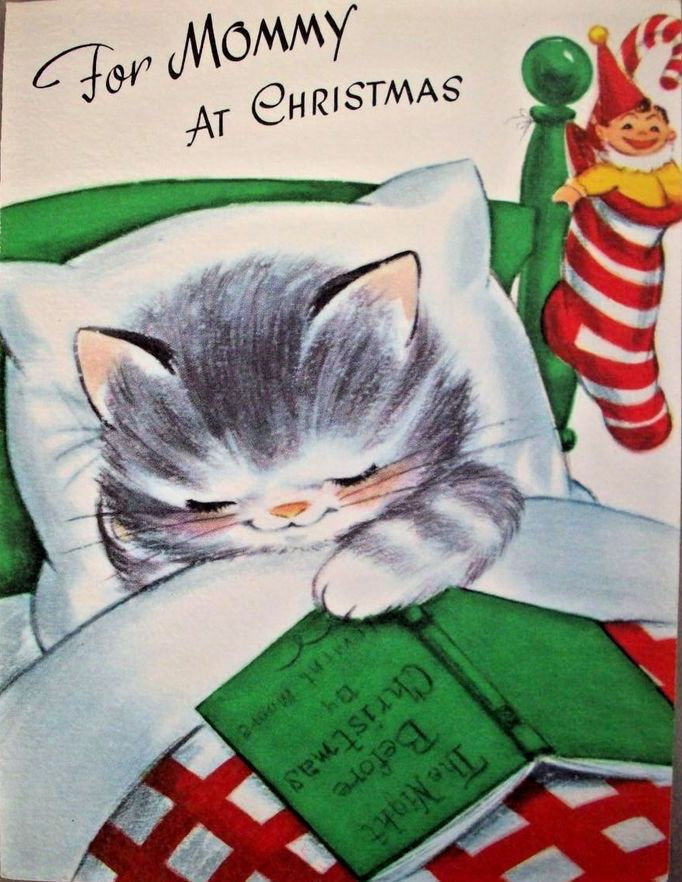 1950s kitten at Christmas illustration re-pinned by www.theleafypaw.com