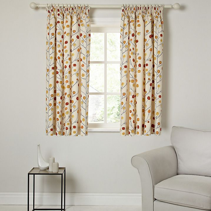 Buy Scion Berry Tree Lined Pencil Pleat Curtains, Orange, W167 x Drop 137cm Online at johnlewis.com