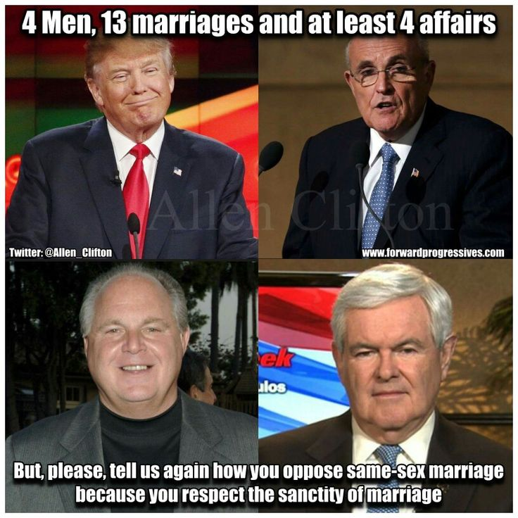 4 men, 13 marriages and at least 4 affairs. But tell me again how you  oppose same sex marriage because you respect the sanctity of marriage.