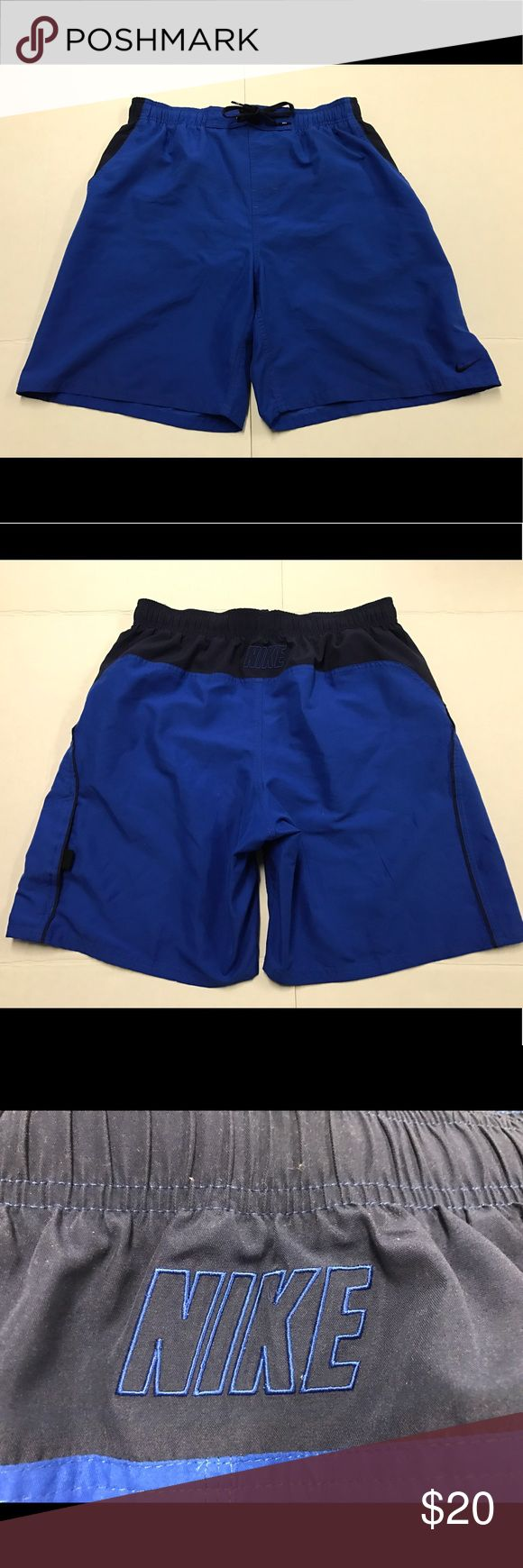 """Nike Swim Trunks Board Shorts Volley Ball Spellout Shorts are in great condition ready to use the measurements are waist 16-18"""" rise 12"""" inseam 8"""" Nike Shorts Athletic"""